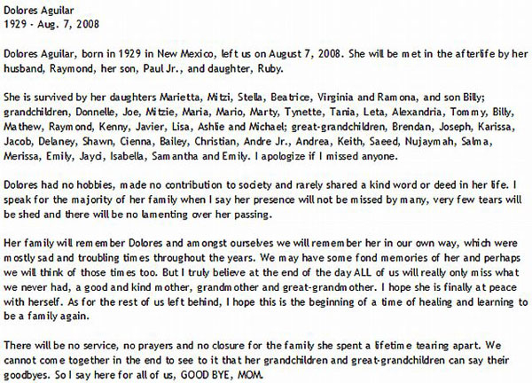 Obit of a Mean Woman